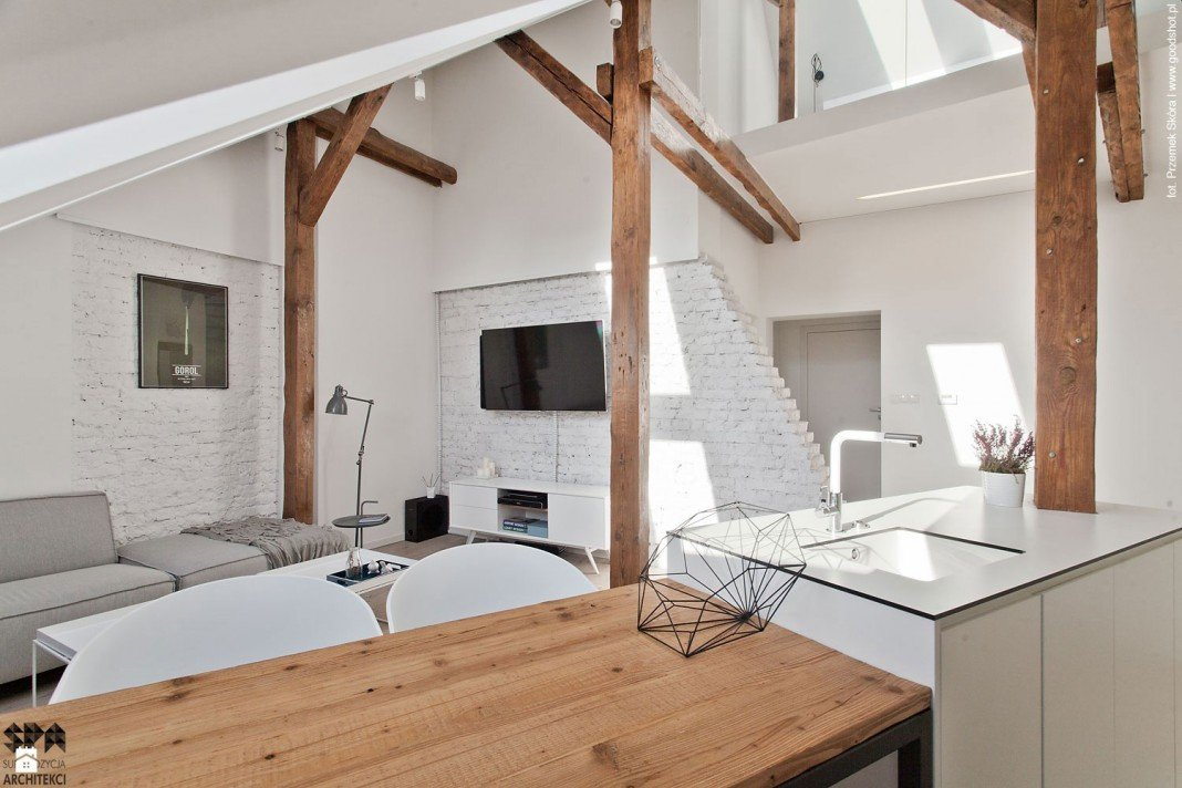 Attic Interior Design Of An Apartment In Gliwice By Superpozycja Inspiration Apartment Design Blog