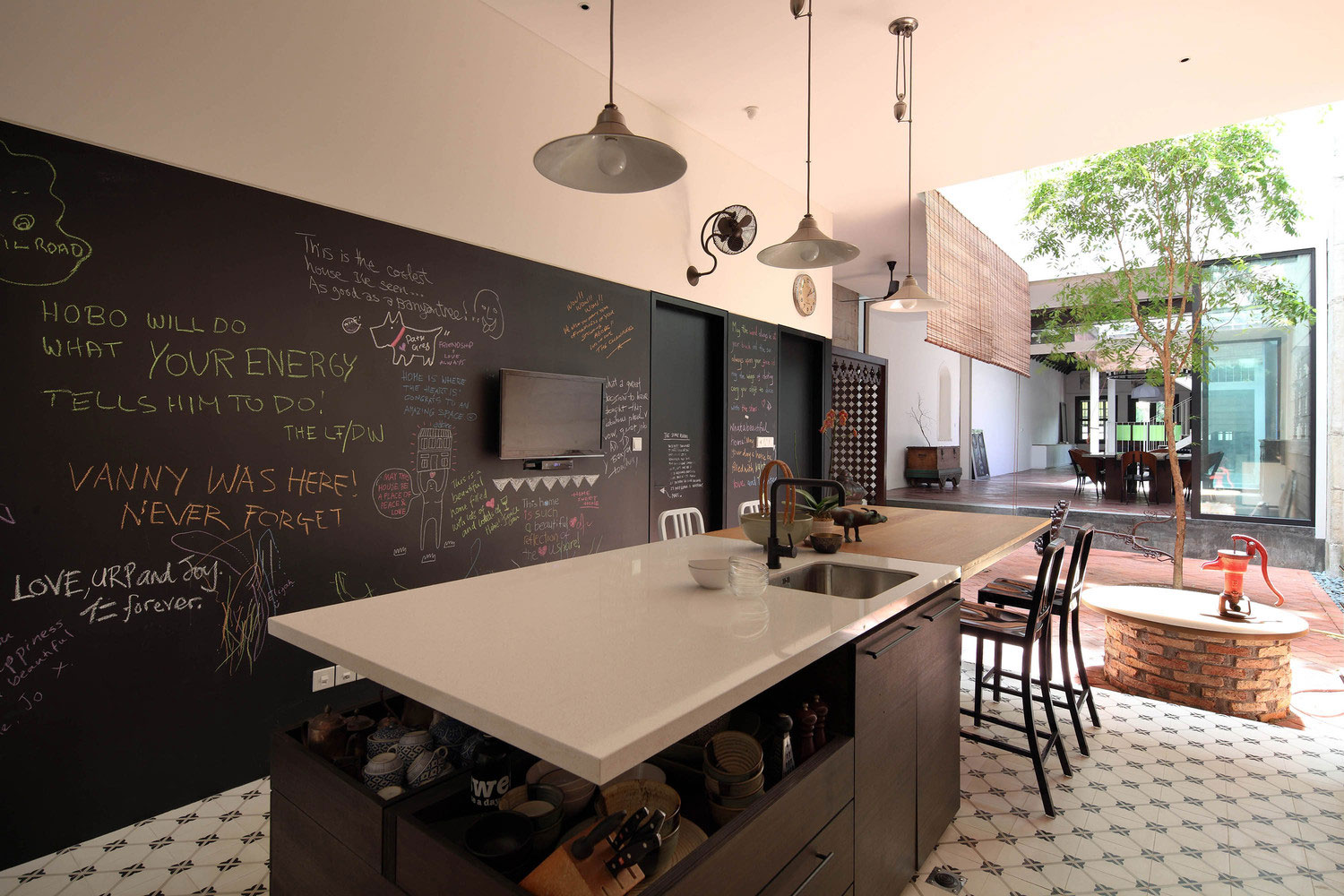 part of the open space kitchen