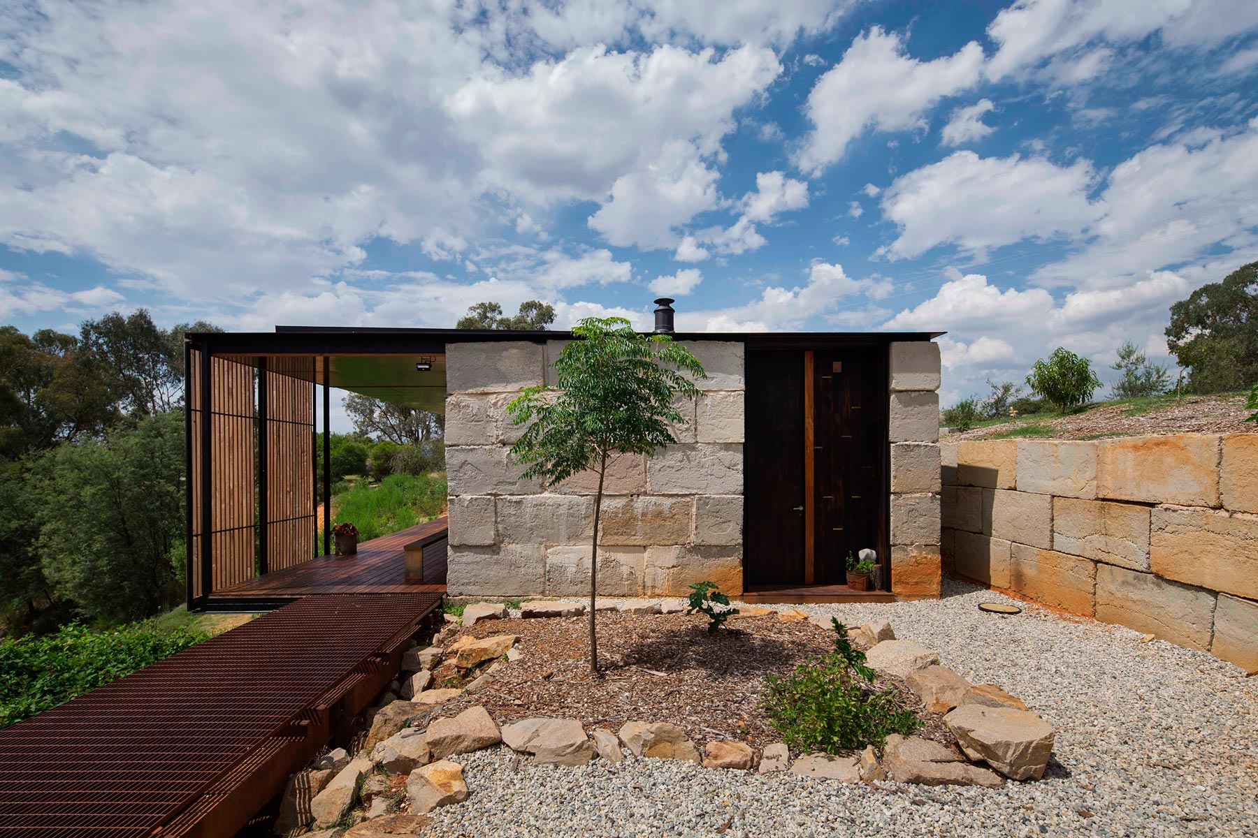 Sawmill House built of Reclaimed Concrete Blocks Used by ARCHIER-13