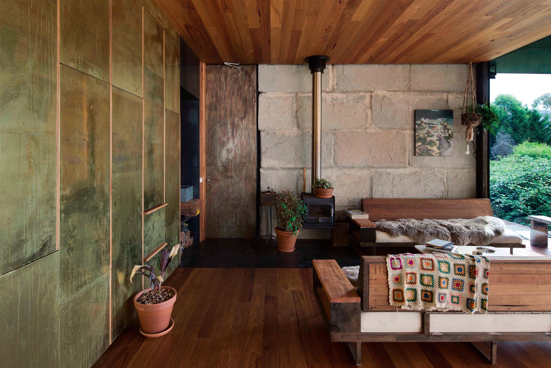 Sawmill House built of Reclaimed Concrete Blocks Used by ARCHIER-16