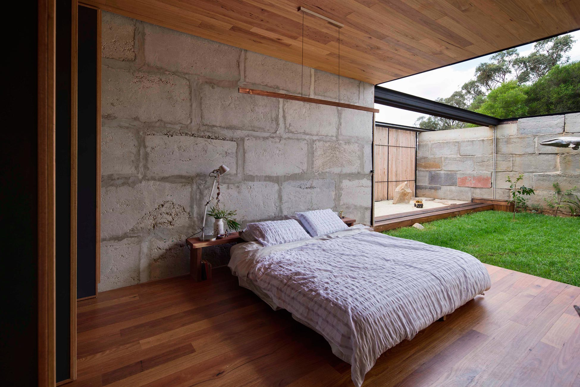 Sawmill House built of Reclaimed Concrete Blocks Used by ARCHIER-27