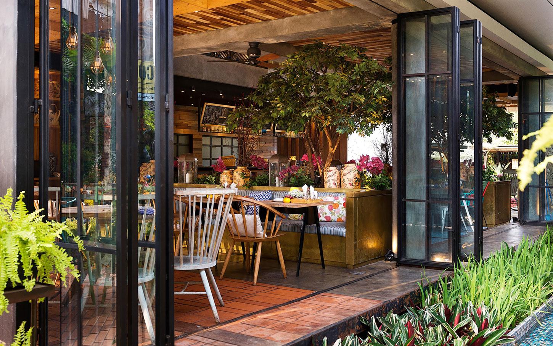 Stylish tropical paradise theme of lemongrass restaurant