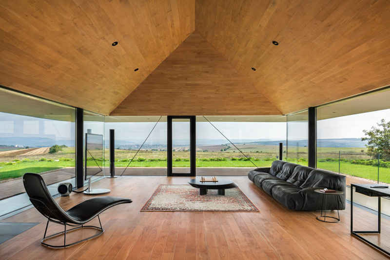 Walls made of gabion and awesome 360 degree views of Observation house by I O architects-12