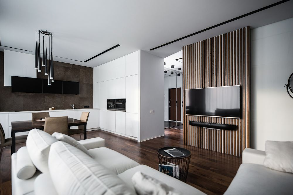 Wood theme apartment in Saint Petersburg by Pavel Isaev