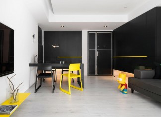 Black, white and yellow accents of H Residence by Z-AXIS DESIGN