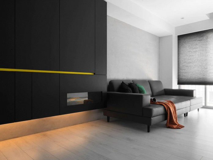 Black, white and yellow accents of H Residence by Z-AXIS DESIGN ...