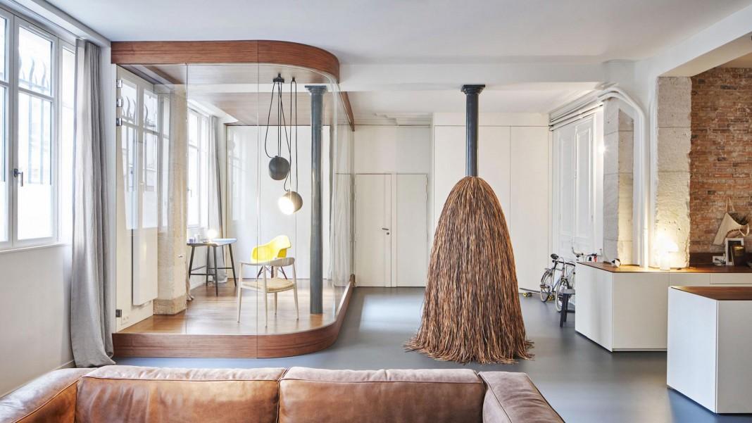 Glass & Walnut Loft in Paris by CUT Architectures