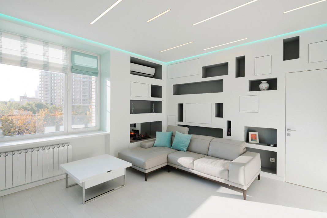 Modern fully white apartment in Moscow by Shamsudin Kerimov