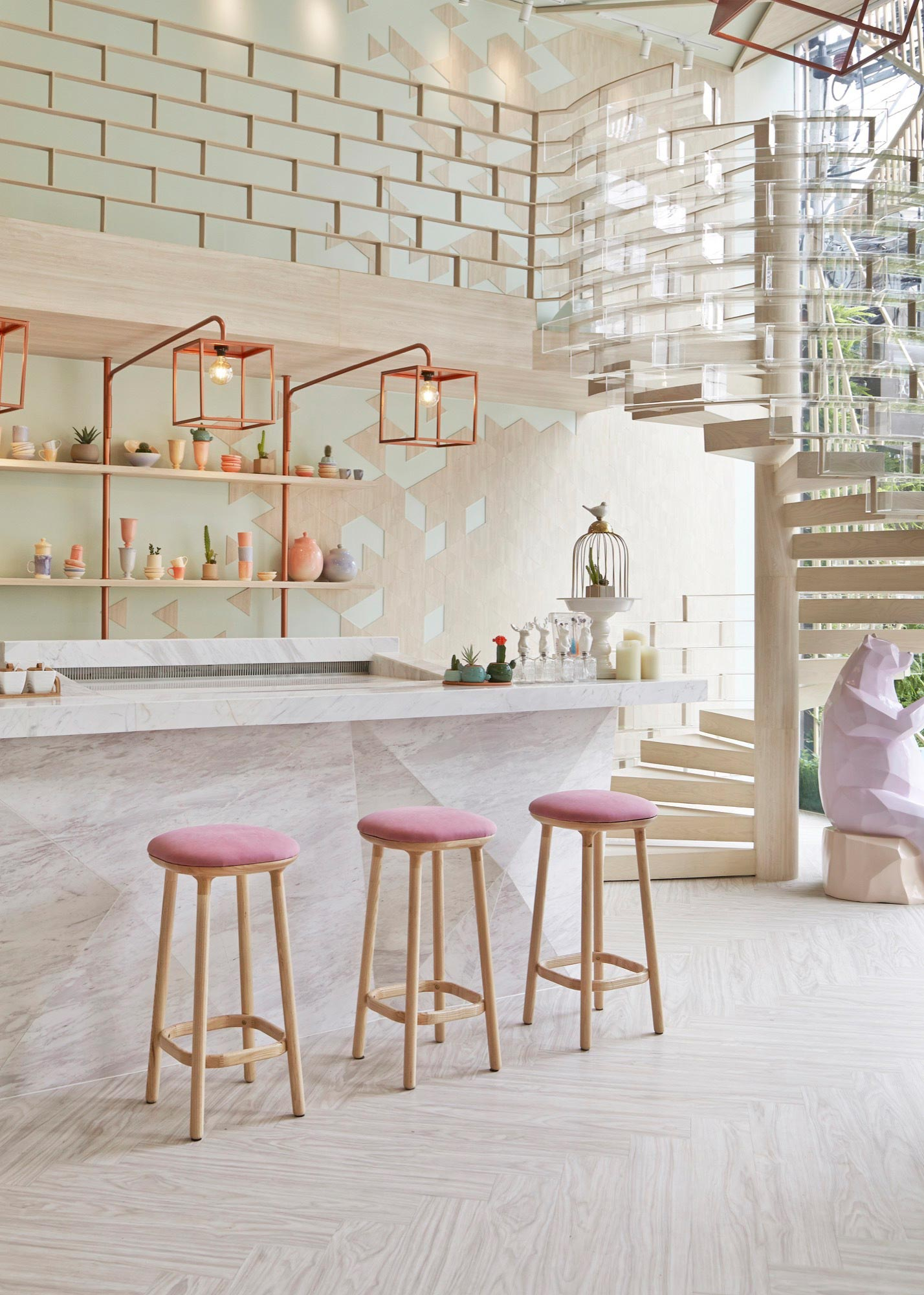 Shugaa dessert bar with predominant sugar elements by for Home architecture blog