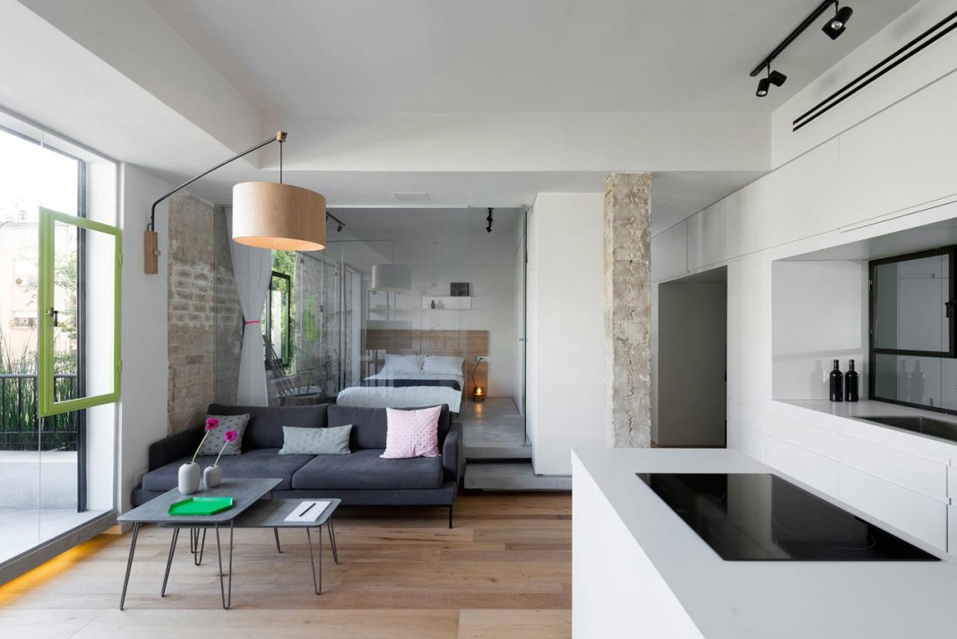 clean and minimal renovation of a small tel aviv apartment