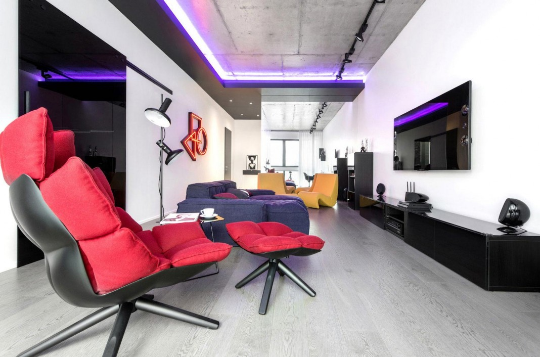 Neon Grunwald Apartment in Moscow by Geometrix Design