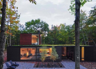 Small Pleated House in the forrest by Johnsen Schmaling Architects