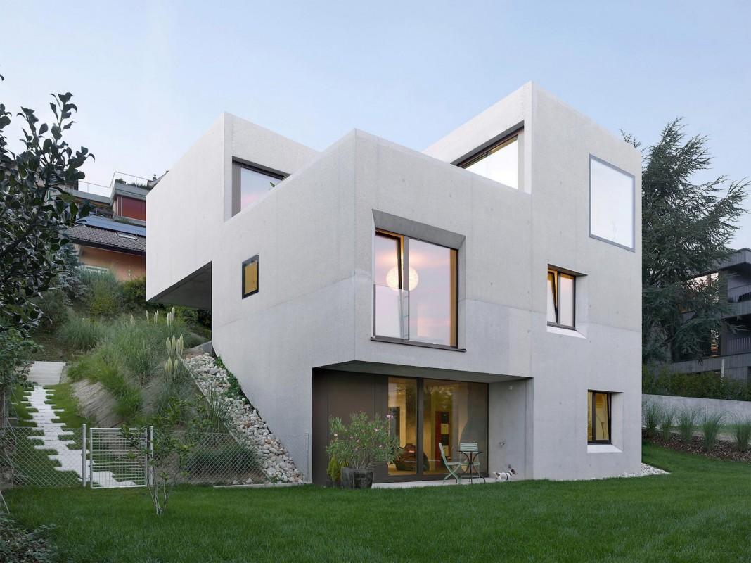 Contemporary villa sah in neuch tel switzerland by andrea for Contemporary villa architecture