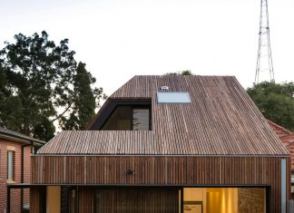 Cut-away Roof House, a contemporary timber clad 2 storey addition by Scale Architecture