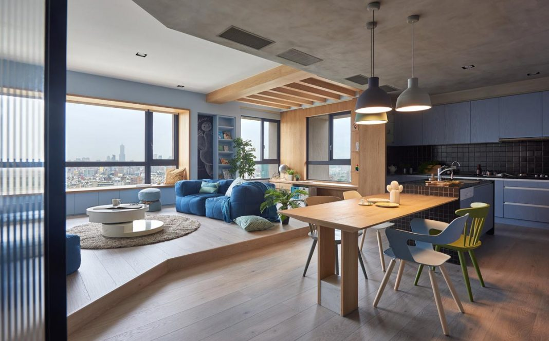 HAO Design designed the Blue and Glue apartment, a boundless space of joy and delectable delights