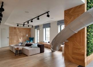 KI Design Office design an stylish Apartment with a Slide in Kharkov, Ukraine