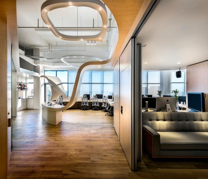 PRODUCE design an open space office of a single continuous ...