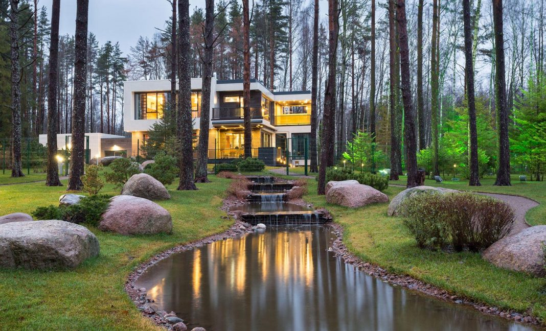 Architectural Bureau A2 design the Home in the Banks of a Lake located in St. Petersburg, Russia