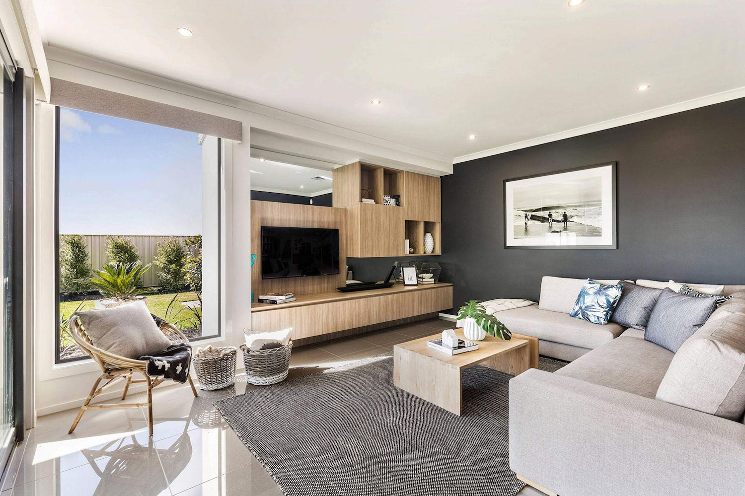 the botanica home with a large open plan living area designed by metricon caandesign. Black Bedroom Furniture Sets. Home Design Ideas