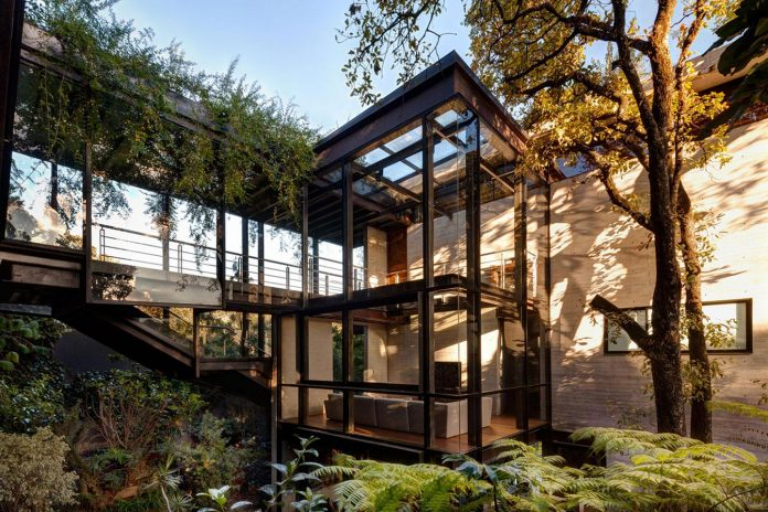 grupoarquitectura-design-tepozcuautla-house-two-volumes-connected-steel-bridges-glass-floors-beyond-forest-03