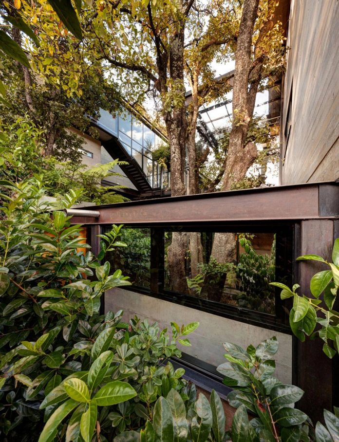 grupoarquitectura-design-tepozcuautla-house-two-volumes-connected-steel-bridges-glass-floors-beyond-forest-06
