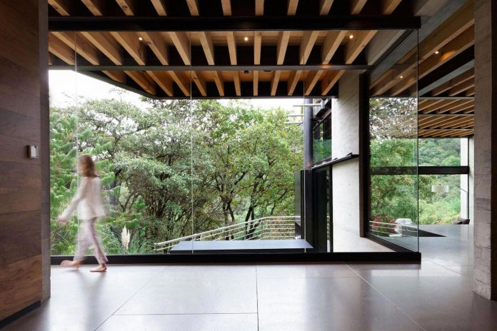 grupoarquitectura-design-tepozcuautla-house-two-volumes-connected-steel-bridges-glass-floors-beyond-forest-24