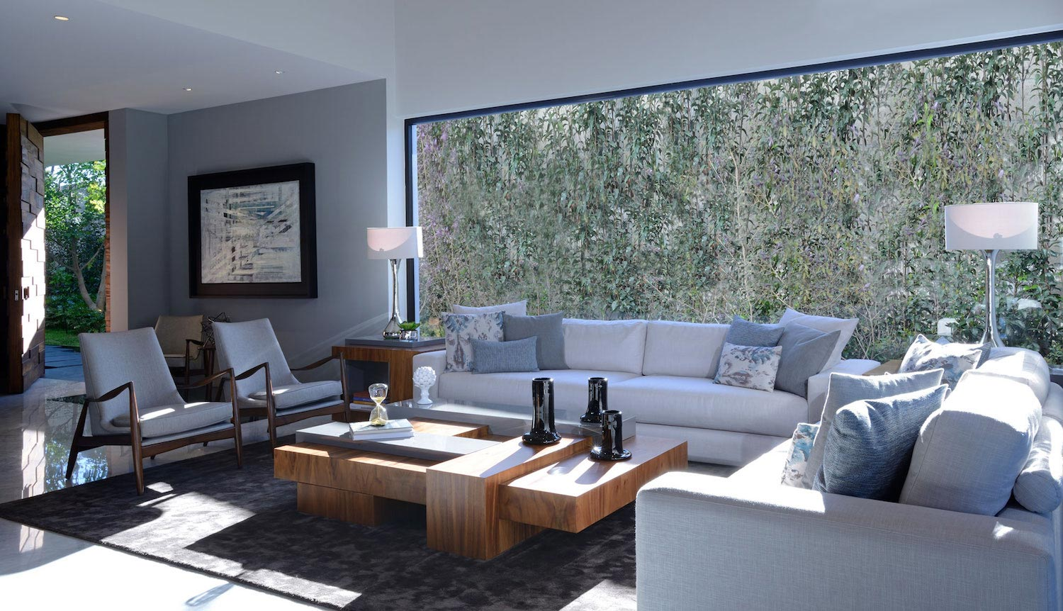Modern atrium house large double height space living room for Double height living room designs