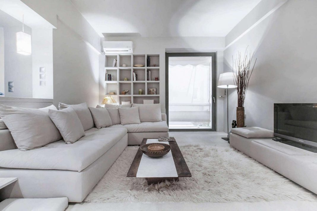 Modern Full White Tone Apartment in Kifissia by AD Architects