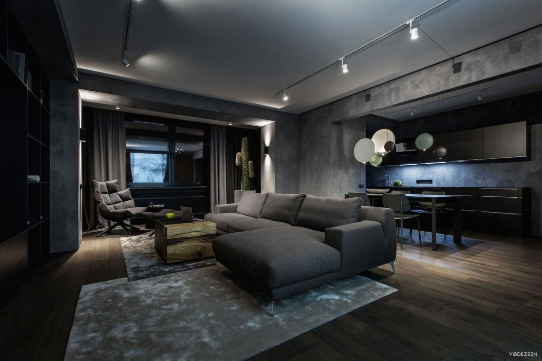 Modern Twilight Apartment Interior in Kiev designed by Yodezeen