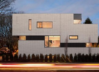 2996 West 11th Residence with punctuated white brick facade by Randy Bens Architect