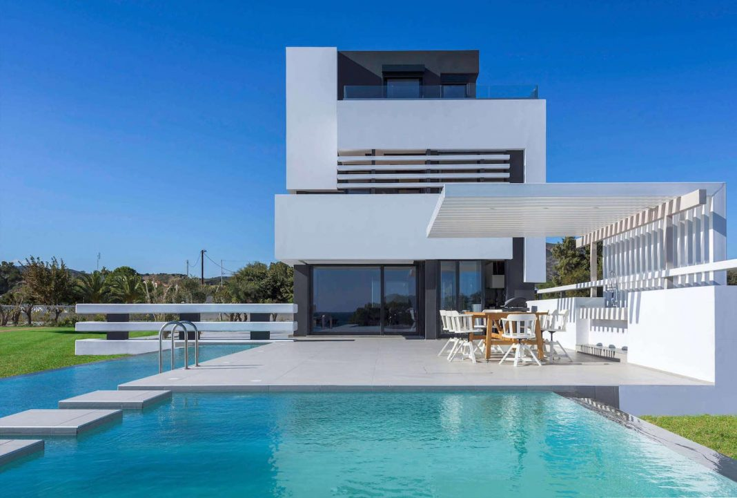 Modern Albatross Villa on the Greek island of Rhodos by Andreas Chadzis and Myrto Kampaloni