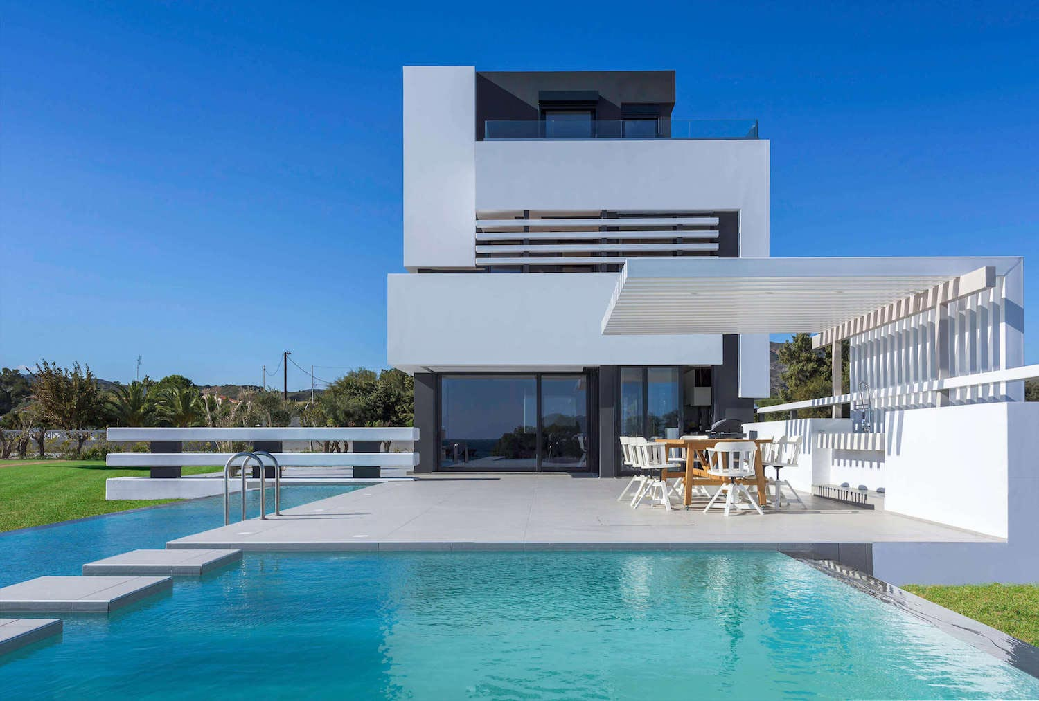 Modern albatross villa on the greek island of rhodos by for Home building architecture