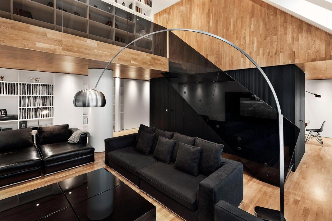 Modern City Loft that combine black white and natural wood