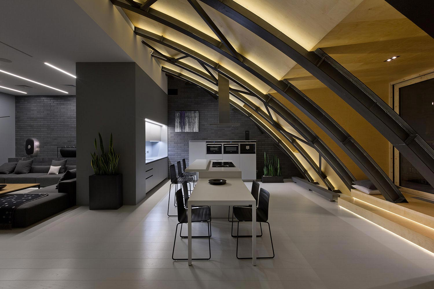 Modern High Lounge In Kiev With A Beautiful Arc Ceiling By Alex Obraztsov Caandesign Architecture And Home Design Blog