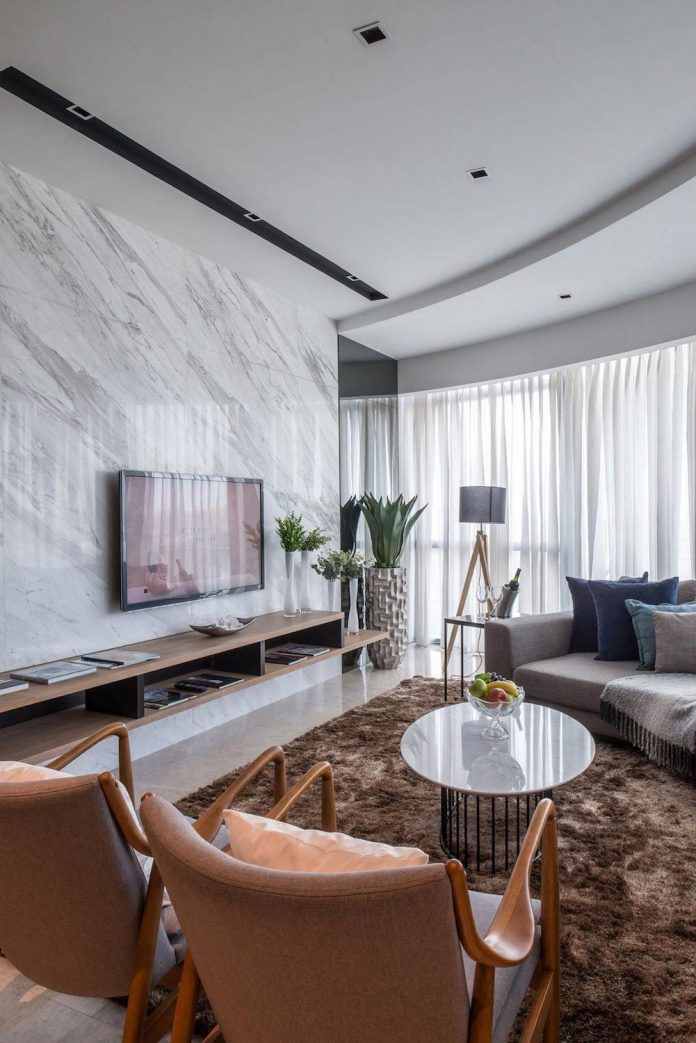Nu infinity design the dc residency apartment in kuala for Living room designs usa
