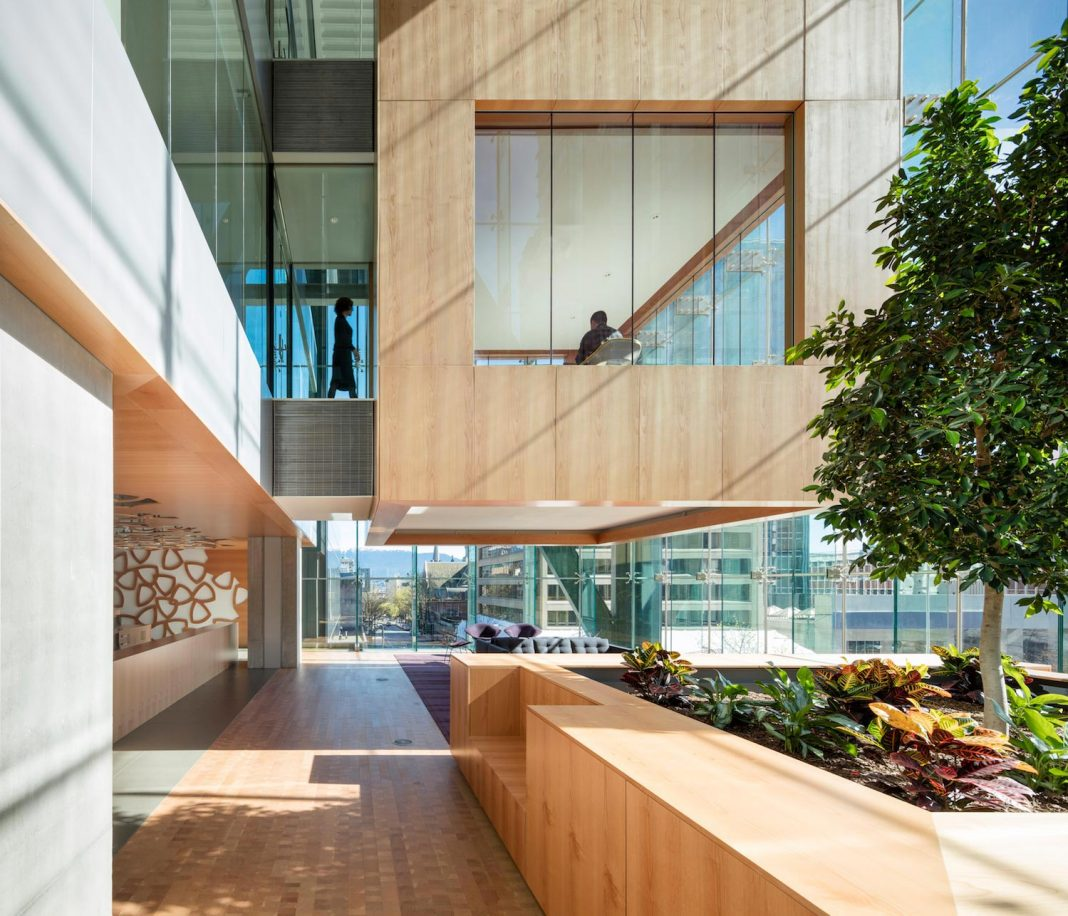 Telus Garden Offices in Vancouver with most state-of the-art workplace technologies designed by Office Of Mcfarlane Biggar Architects + Designers Inc.