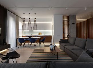 Wood and Marble elegant and laconic minimalist style apartment by Nottdesign