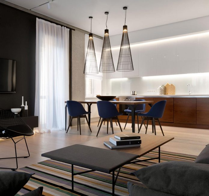 Wood and marble elegant and laconic minimalist style for Minimalist style apartment