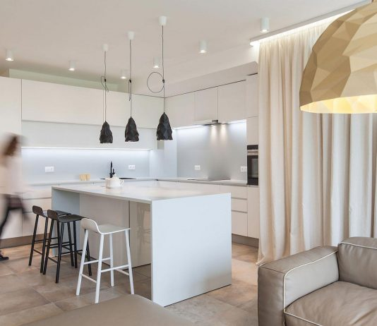 Victory apartment designed with the greatest attention to detail, made to measure, clean lines, reducing the colour scheme to a minimal