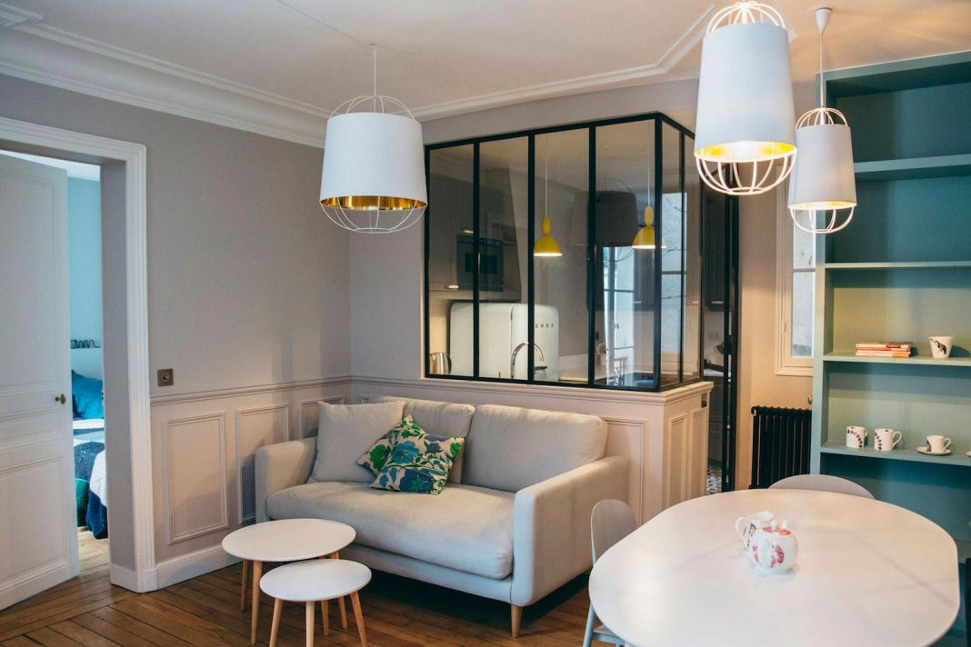 Convestion of a two bedroom Haussamanian apartment in central Paris into a functional, contemporary and versatile, with a retro twist weekend city pad
