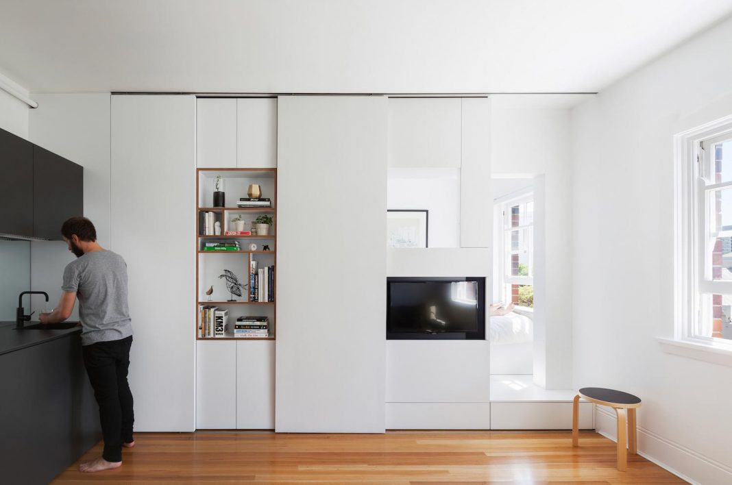 Tiny apartment is high quality designed to comfortably accommodate a couple and provides an affordable option for inner city living