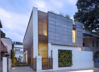 Two story Badri Residence located in Jayanagar, Bangalore and designed by Architecture Paradigm