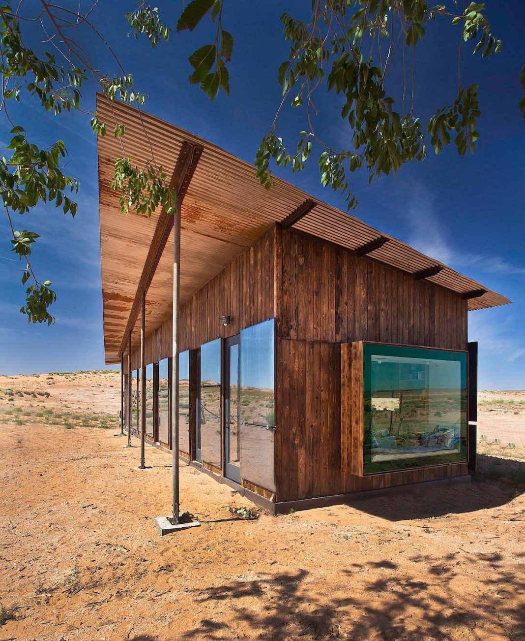 The Nakai residence in the middle of the desert, constructed for Lorraine Nakai