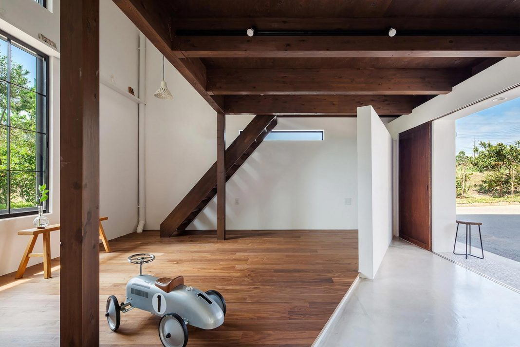 Old barn which used to store farming equipment converted into a home with a design office and a master bedroom