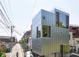 """ondo"" is a house with a cafe, having 3 floors, a basement and a roof terrace and faces one of the most famous parks in Tokyo"