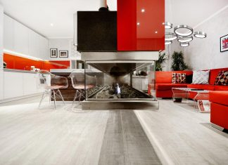 Stylish and bright apartment with light metal and textured coatings that belongs to a young girl with her daughter