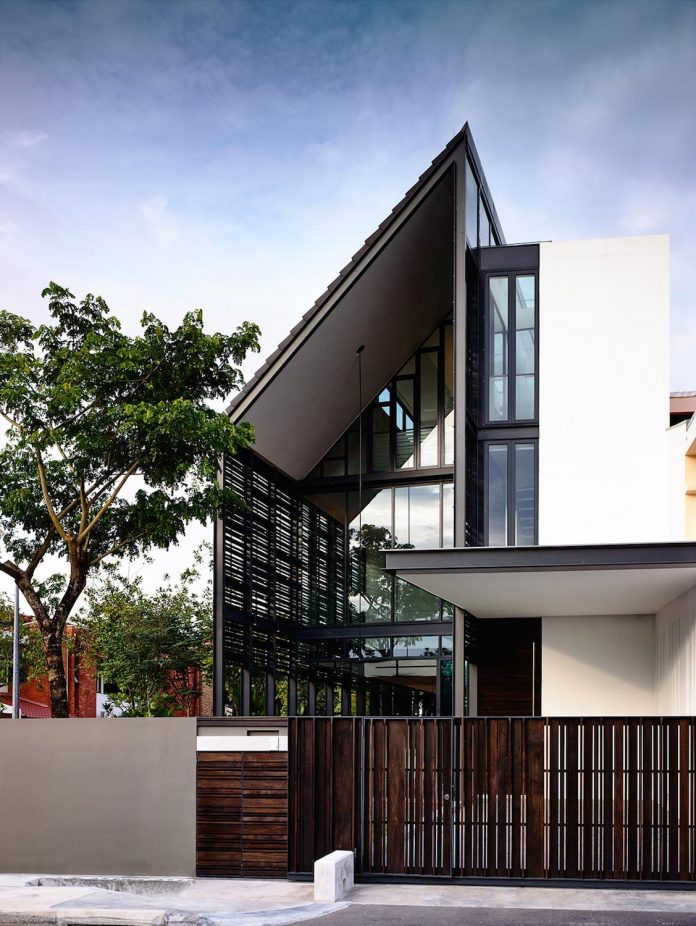 Faber terrace residence with slatted timber screen that for Use terrace in a sentence