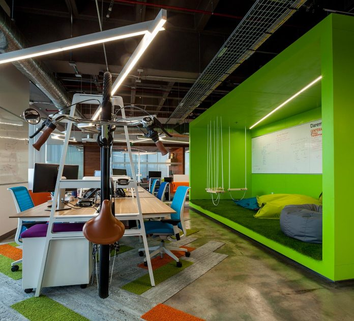 innovative home office decorating ideas | The Gentera Innovation Lab located inside its corporate ...