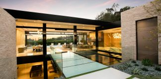 Hillcrest Residence in Beverly hills with a true water garden located in the middle of the house