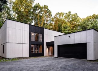 Home renovation covered in fiber cement paneling and Shou-Sugi Ban wood for weather resistance, sustainability and its cost-effectiveness